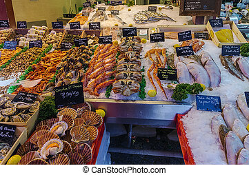 counter with seafood, Trouville-sur-mer, France - counter...