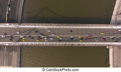 Krymsky bridge aerial view car traffic - Krymsky Bridge or...