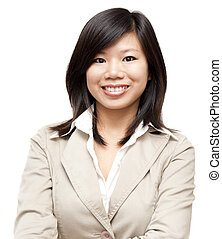 Asian woman - Arms crossed Asian Educational Business woman...