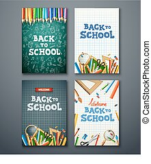 Set of different vertical banners with school supplies