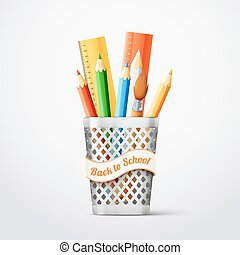 Shiny metal backet with school tools. eps10 vector...