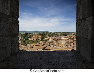 Sienna, Italy - View at old traditional houses from Siena,...