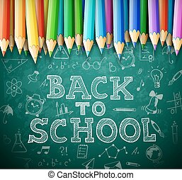 Back to school vector background with chalk board and...
