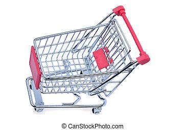 Empty shopping cart on white background - Isolated empty...
