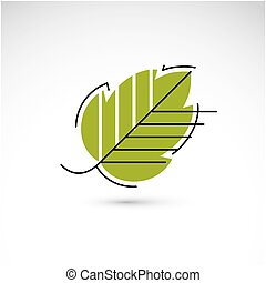 Spring hazel tree leaf, botany and eco flat image Vector...