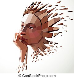 Face of a thinking woman created in low poly style, 3d...