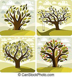 Vector art green trees with swing on beautiful cloudy spring landscape.  Setting sun with sunbeams view, season theme illustrations collection.