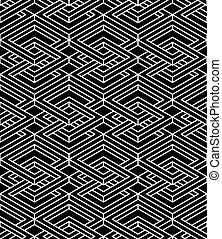 Endless monochrome symmetric pattern, graphic design...