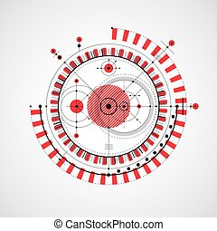 Technical drawing made using dashed lines and geometric circles. Vector red wallpaper created in communications technology style, engine design.