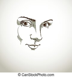 Black and white illustration of lady face, delicate visage...