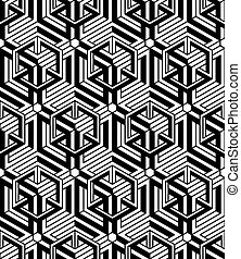Black and white illusive abstract geometric seamless 3d...
