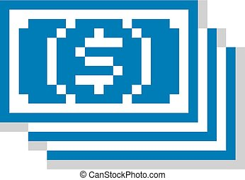 Vector flat 8 bit icon, simple geometric pixel symbol Bundle...