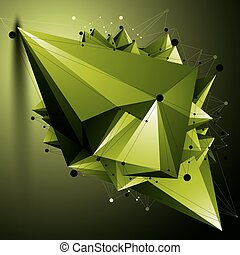 Abstract 3D structure polygonal network object, green deformed figure.