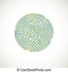 Vector abstract colorful technology illustration with round...