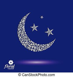 New Moon placed on a starry sky beautiful art vector...