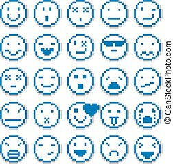 Vector pixel icons isolated, collection of 8bit graphic...
