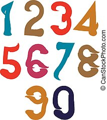 Handwritten colorful vector serif numbers, stylish numbers...