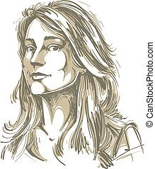 Vector art drawing, portrait of gorgeous dreamy girl...