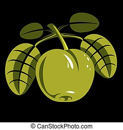 Harvesting symbol, single vector fruit isolated. Ripe organic sweet apple with green leaves, healthy food idea design icon.