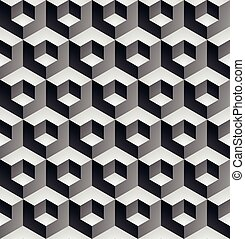 Geometric seamless pattern, endless black and white vector...