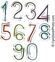 Handwritten light vector numbers, stylish numbers set drawn...
