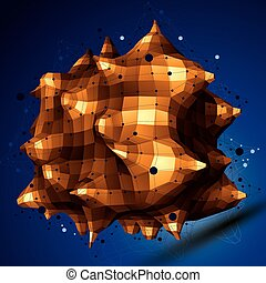 3D mesh modern stylish abstract construction, golden origami...