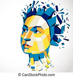 3d vector illustration of human head created in low poly...