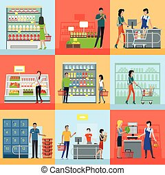 Set of Shopping in Supermarket Concepts Vector. - Set of...
