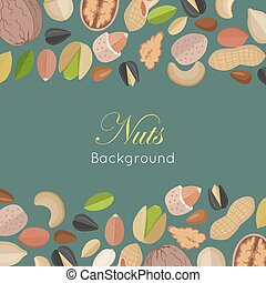 Nuts Background Concept Vector in Flat Design - Nuts...
