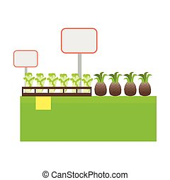 Shelf with Products in Grocery Store Vector. - Shelf with...