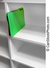 Single Green File on Shelf for Business - Single Green file...