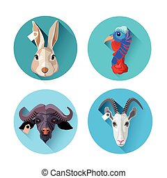 Farm Animal Set Icon Collection Flat Vector Illustration