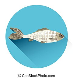 Fish Fresh Food Icon Flat Vector Illustration