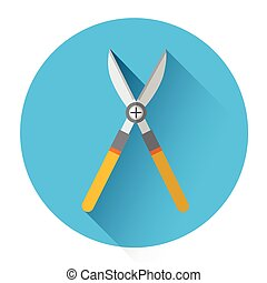 Secateurs Garden Pruner Icon Flat Vector Illustration