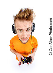 crazy gamer - Crazy gamer with controller and headphones....