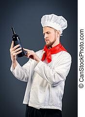 sommelier tasting - Male sommelier tasting red wine...