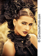 gothic belle - Close-up portrait of a beautiful gothic woman...