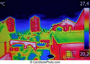 Thermal image on Residential building - Infrared...