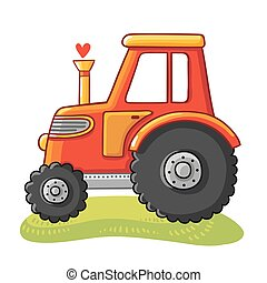 Cute tractor in a clearing.