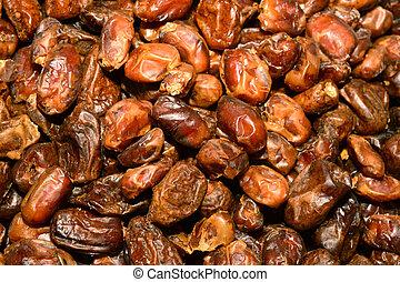 Dried dates (fruits of date palm Phoenix dactylifera)....