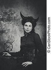 pretas, e, branca, retro, foto, mulher, Demônio,...