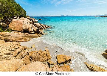 rocks in Capriccioli beach in Costa Smeralda, Italy