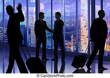 Business people walking in the office center
