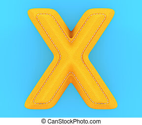 Leather yellow texture letter X - Alphabet yellow leather...