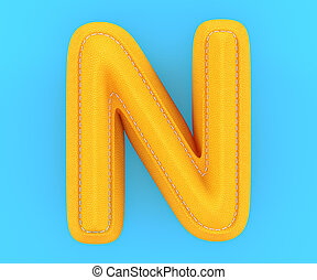Leather yellow texture letter N - Alphabet yellow leather...