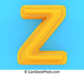Leather yellow texture letter Z - Alphabet yellow leather...