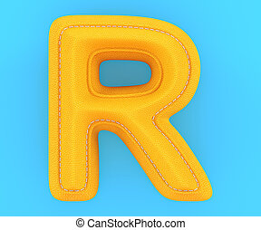 Leather yellow texture letter R - Alphabet yellow leather...