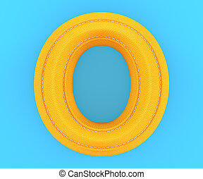 Leather yellow texture letter O - Alphabet yellow leather...