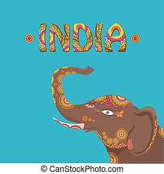 vector indian elephant with color pattern. india travel...