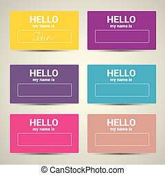 Hello My Name Is. Name Tag Set.